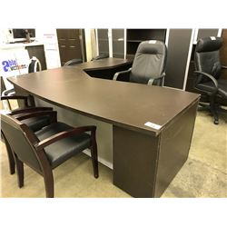 DARK WOOD BOW FRONT 7' X 7' EXECUTIVE L-SHAPE DESK