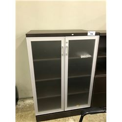 DARK WOOD 4.5' FROSTED GLASS DOUBLE DOOR BOOK CASE