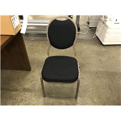 BLACK FABRIC AND BROWN METAL FRAME STACKING, GANGABLE BANQUET CHAIR