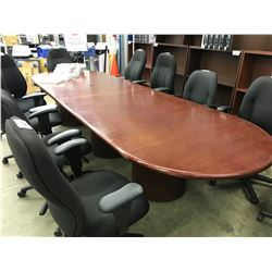 MAHOGANY 12' RACETRACK BOARDROOM TABLE