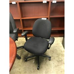 BLACK ADJUSTABLE ARM TASK CHAIR