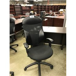 BLACK LEATHER AND MESH BACK HIGH BACK EXECUTIVE CHAIR