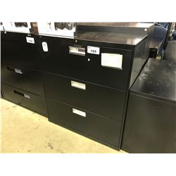 BLACK 3 DRAWER LATERAL FILE CABINET