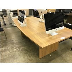 LIGHT MAPLE 8' BOAT SHAPE BOARDROOM TABLE