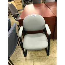 LIGHT BLUE SLED BASE CLIENT CHAIR