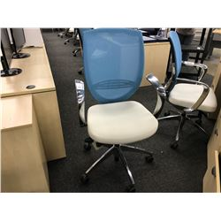 KIMBALL WISH ERGONOMIC MESH BACK BLUE AND WHITE TASK CHAIR