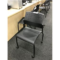GLOBAL BLACK MOBILE STACKING SIDE CHAIR