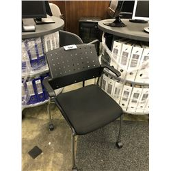 GLOBAL BLACK MOBILE STACKING ARM CHAIR