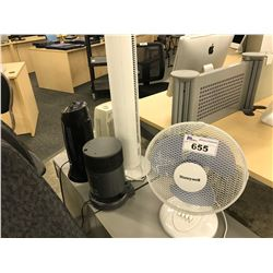 LOT OF 3 HEATERS, 2 FANS, AND 2 LAMPS
