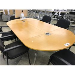 MAPLE 8' X 4' RACETRACK BOARDROOM TABLE