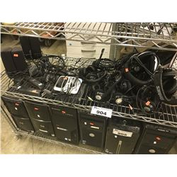 LOT OF ASSORTED HEADPHONES, DESKTOP SPEAKERS AND MORE