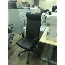 BLACK LEATHER HIGH BACK MULTI LEVER TASK CHAIR