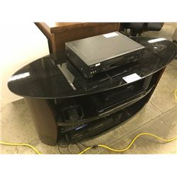 GLASS TV TOP STAND WITH VARIOUS A/V RECEIVERS, COMPONENTS ETC.