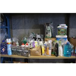 SHELF LOT OF HOUSEHOLD PRODUCTS INCLUDING CLEANING SUPPLIES, KITCHEN AND BATHROOM SUPPLIES