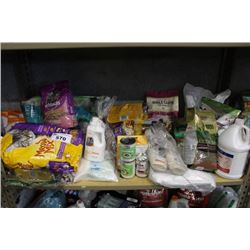 SHELF LOT OF HOUSEHOLD PRODUCTS INCLUDING PET PRODUCTS - FOOD, LITTER AND MORE