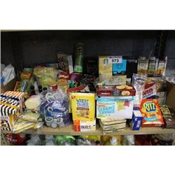 SHELF LOT OF FOOD - CEREAL, COFFEE, PROTEIN BARS AND MORE