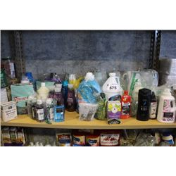 SHELF LOT OF HOUSEHOLD PRODUCTS INCLUDING BODY WASH, LAUNDRY DETERGENT, KITCHEN CLEANERS AND MORE