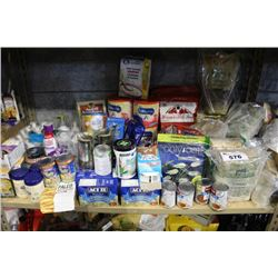 SHELF LOT OF FOOD - BABY FORMULA, POPCORN AND MORE