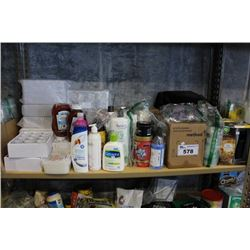 SHELF LOT OF HOUSEHOLD PRODUCTS INCLUDING GLASSES, KITCHEN CLEANERS, BODY WASH AND MORE