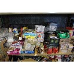 SHELF LOT OF FOOD - CANNED GOODS, CEREAL, FLOUR, RICE AND MORE