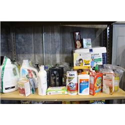 SHELF LOT OF HOUSEHOLD PRODUCTS INCLUDING LAUNDRY DETERGENT, BODY WASH AND MORE