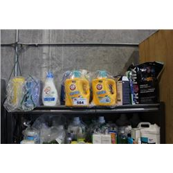 SHELF LOT OF HOUSEHOLD PRODUCTS INCLUDING LAUNDRY DETERGENT, POTTING SOIL, LYSOL WIPES AND  MORE