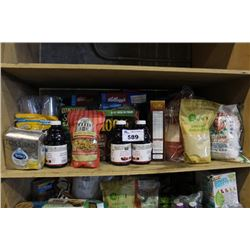 SHELF LOT OF FOOD - CEREAL, RICE, TEA, JUICE AND MORE