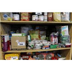 SHELF LOT OF FOOD - FLOUR, PROTEIN BARS, SNACKS, COFFEE AND MORE