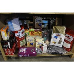 SHELF LOT OF FOOD - PET FOOD, POP CANS, CEREAL, CRACKERS, AND MORE