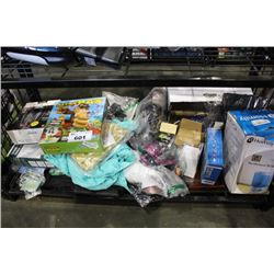 SHELF LOT OF HOUSEHOLD PRODUCTS INCLUDING ELECTRIC RAZOR, TOYS, HUMIDIFIER AND MORE