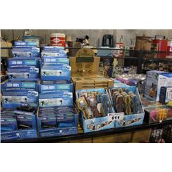 SHELF LOT OF DEPARTMENT STORE GOODS INCLUDING EXER-GRIPS, ILLUSION PUZZLES, COBRA RC TOYS, RELAXUS