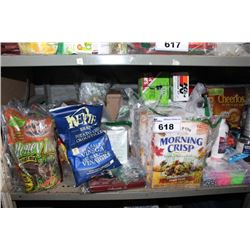 SHELF LOT INCLUDING CEREAL, LOOM BAND KIT, COLA, SNACKS AND MORE
