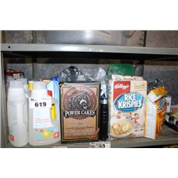 SHELF LOT INCLUDING DETERGENT, CEREAL, PANCAKE MIX, LYSOL WIPES AND MORE