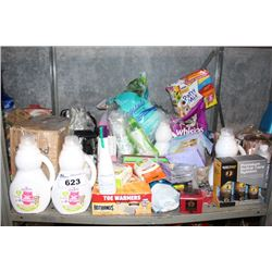 SHELF LOT INCLUDING LAUNDRY DETERGENT, CAT LITTER, PET FOOD AND MORE