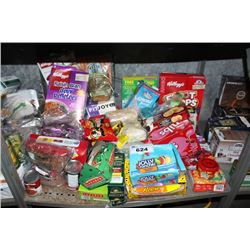 SHELF LOT INCLUDING PROTEIN BARS, SNACKS, NIBS, AND MORE