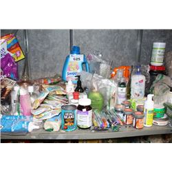 SHELF LOT INCLUDING LAUNDRY DETERGENT, HAIR DYE, PET PRODUCT, SOAP AND MORE