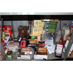 SHELF LOT INCLUDING ASSORTED K-CUPS, TEA, COFFEE AND MORE
