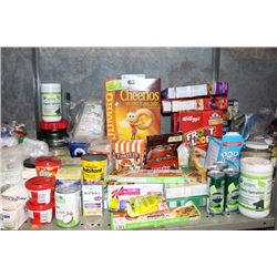 SHELF LOT INCLUDING CEREAL, PROTEIN POWDER, SNACKS AND MORE