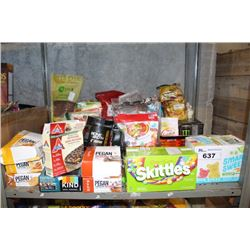 SHELF LOT INCLUDING PROTEIN POWDER AND BARS, AND ASSORTED SNACKS