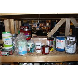 SHELF LOT OF PROTEIN POWDER, BARS AND OTHER WORK OUT SUPPLEMENTS