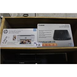 HP THE WORLD'S SMALLEST ALL IN ONE PRINTER AND CANON CANOSCAN LIDE 220 COLOR IMAGE SCANNER