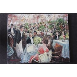 """ORIGINAL OIL PAINTING ON CANVAS SIGNED OTTO JEGODKA """"AT THE PARTY"""""""