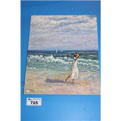 """ORIGINAL OIL PAINTING ON CANVAS SIGNED OTTO JEGODKA """"ON THE BEACH"""""""