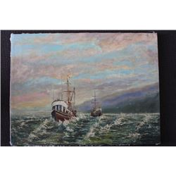 """ORIGINAL OIL PAINTING ON CANVAS SIGNED OTTO JEGODKA """"ON THE WAY OUT"""""""