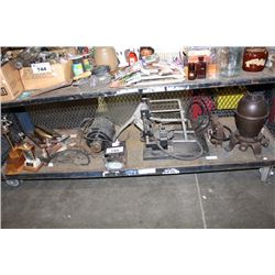 SHELF OF VINTAGE COLLECTABLES INCLUDING FARM EQUIPMENT, TOOLS AND MORE