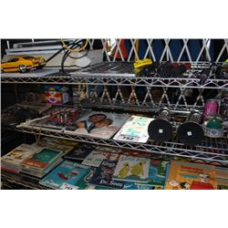 SHELF LOT OF COLLECTABLES INCLUDING MAGAZINES, SNOW GLOBES AND MORE