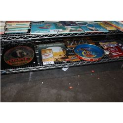 SHELF LOT OF TIN BAR SIGNS AND MORE