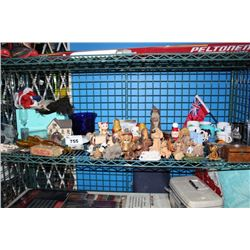 SHELF OF COLLECTABLES INCLUDING FIGURINES, MUGS AND MORE