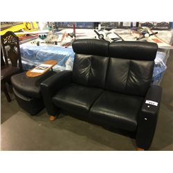 EKORNES WOOD & LEATHER LOVE SEAT WITH OTTOMAN/SIDE TABLE