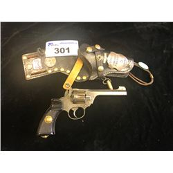 FULLY DEACTIVATED 38 CALIBER REVOLVER WITH DECORATED HOLSTER - NOT WORKING CONDITION